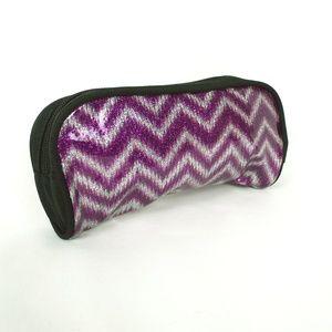 Handbags - Purple & Silver Small Zipper Makeup Cosmetic Bag